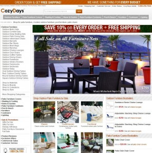 Screen Capture of CozyDays' homepage