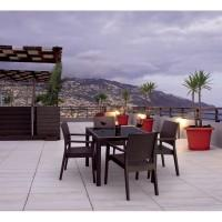 Ibiza Wickerlook Patio Dining Arm Chairs in Brown