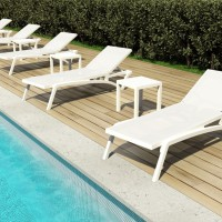 Pacific Chaise Lounges in White Frame & White Slings
