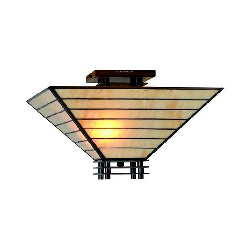 Tiffany Style Mission Semi Flush Ceiling Fixture