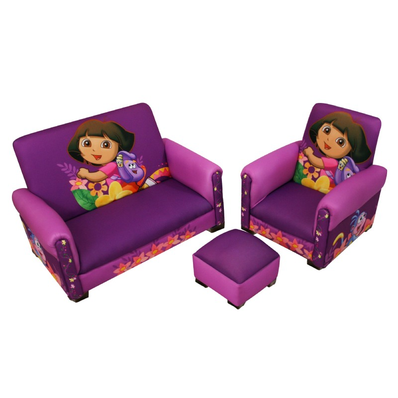 Most Popular: Furniture: Kids Theme Furniture: Nickelodeon Dora Hiking Deluxe Toddler Sofa, Chair and Ottoman
