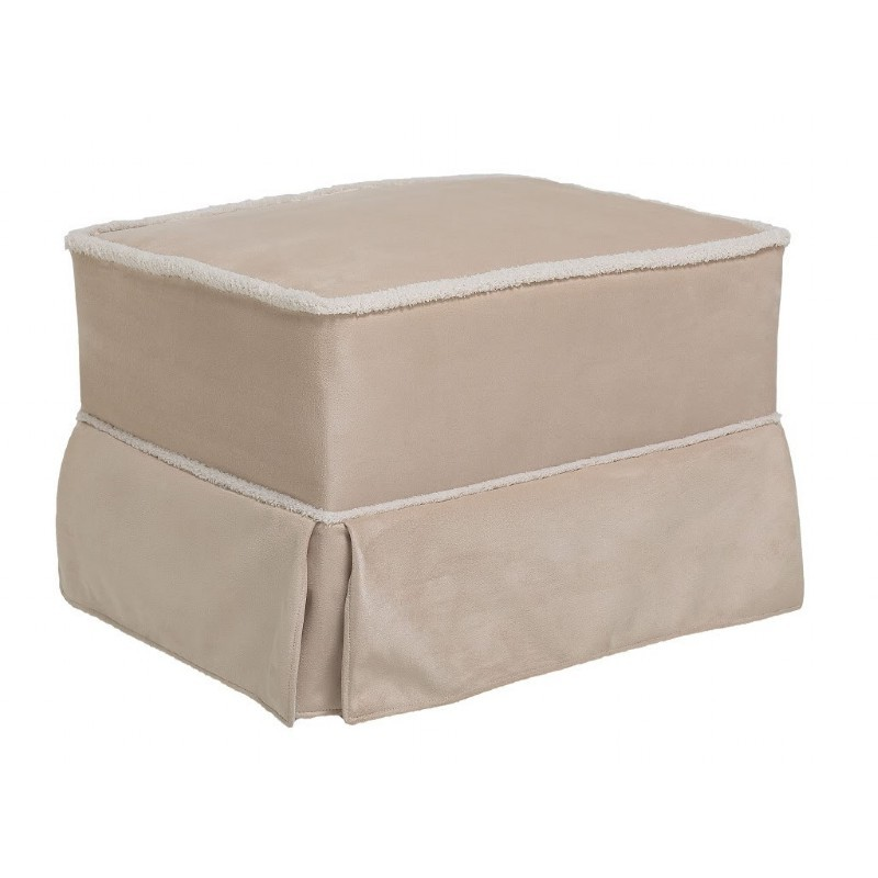 Furniture: Ottomans: Ottoman Beige Micro with Sherpa