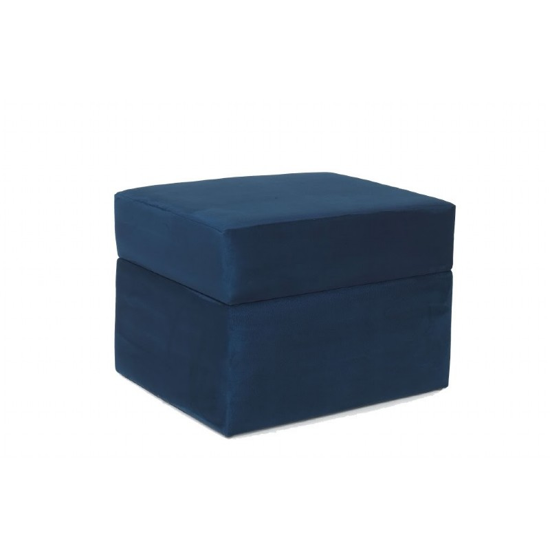 Furniture: Ottomans: Devon Ottoman Blue Micro