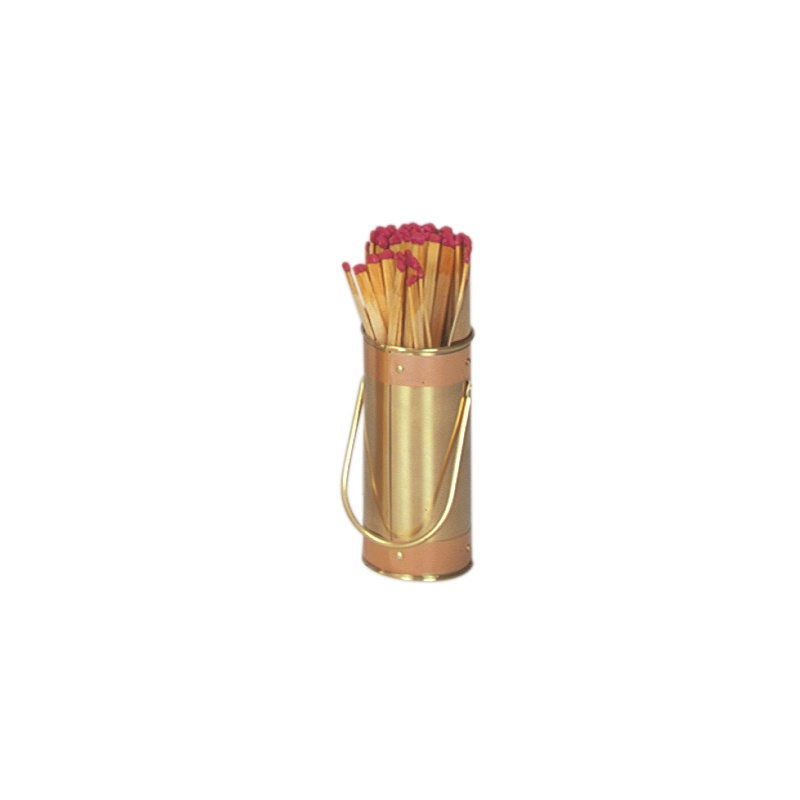 Solid Brass Match Holder With Striker & Copper Band