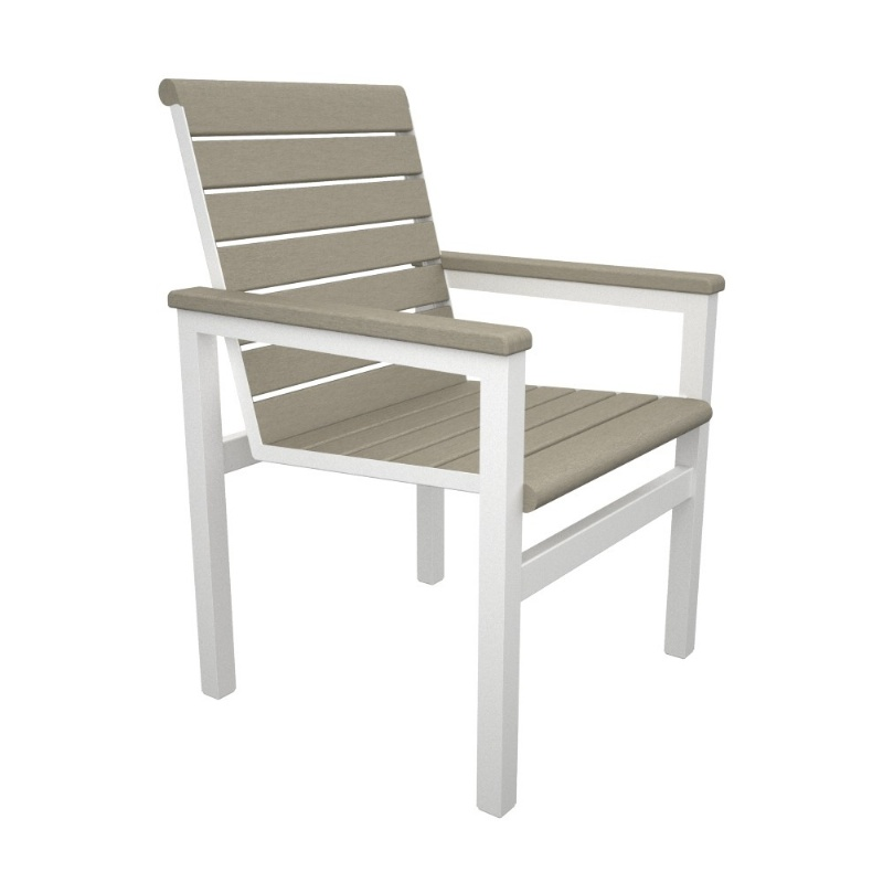 Outdoor Furniture: White Patio Chairs: Mod Aluminum Outdoor Arm Chair with Traditional Polywood Slats