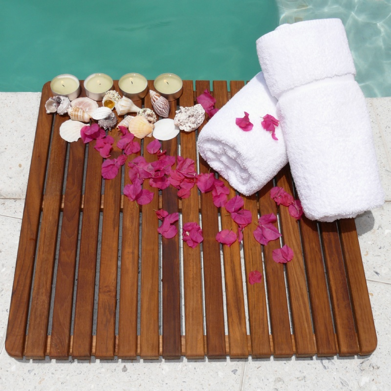 Teak Oiled Spa Floor Mat 24 x 24 : Pool & Spa