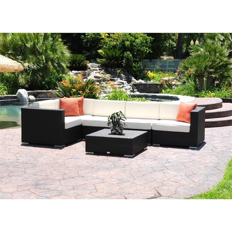 Dijon Modern Patio Sectional Deep Seating Set 6 Piece : Pool Furniture Sets