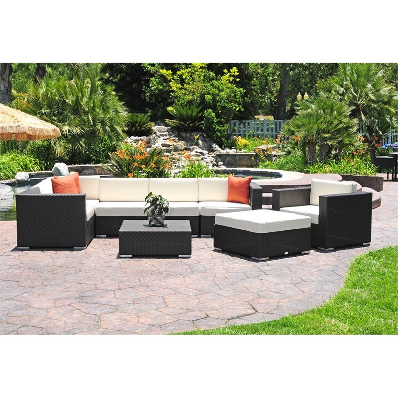 Outdoor Furniture: Outdoor Deep Seating Sets: Dijon Modern Patio Sectional Deep Seating Set 9 Piece