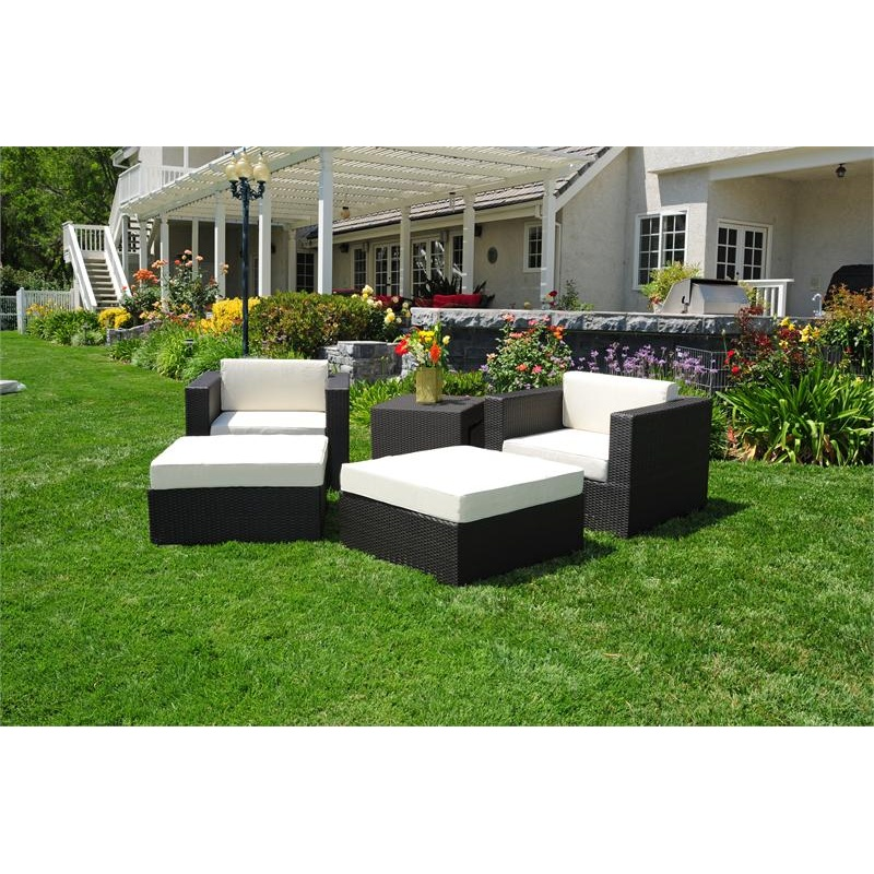 Outdoor Furniture: Outdoor Deep Seating Sets: Dijon Modern Patio Club Deep Seating Set 5 Piece