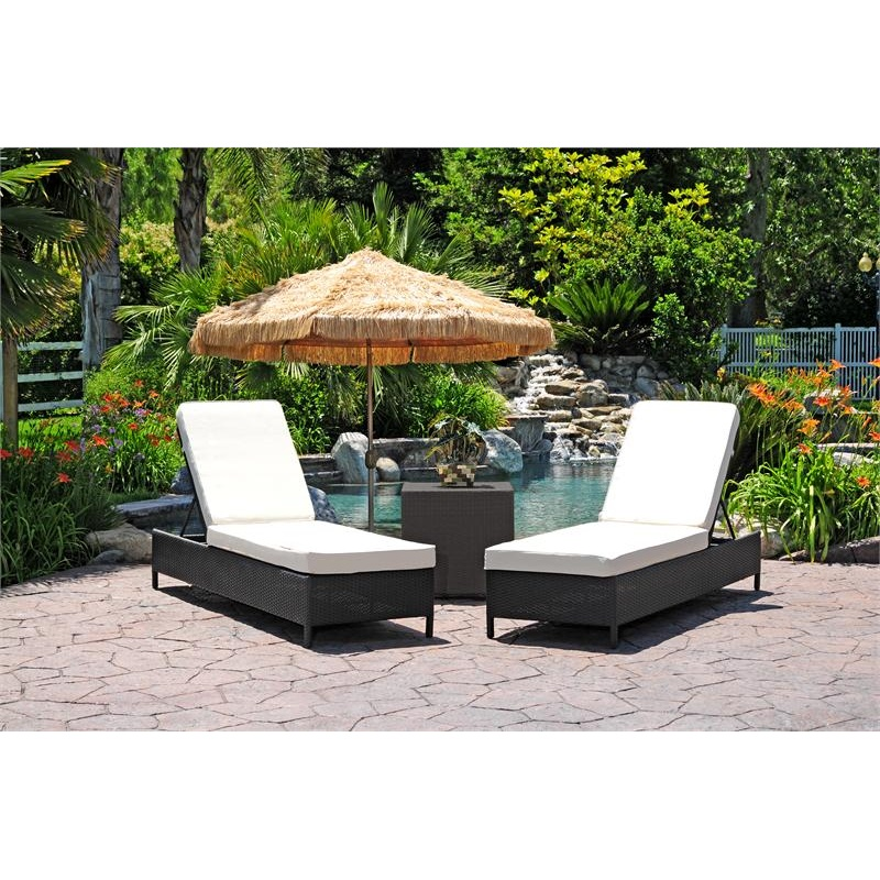 Outdoor Furniture: Outdoor Comfort Sets: Dijon Modern Patio Chaise Lounge Set 3 Piece