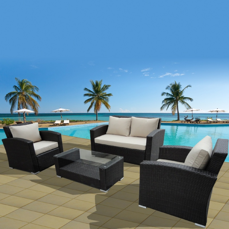 Keywest Modern Outdoor Deep Seating Set 4 Piece : Patio Sets
