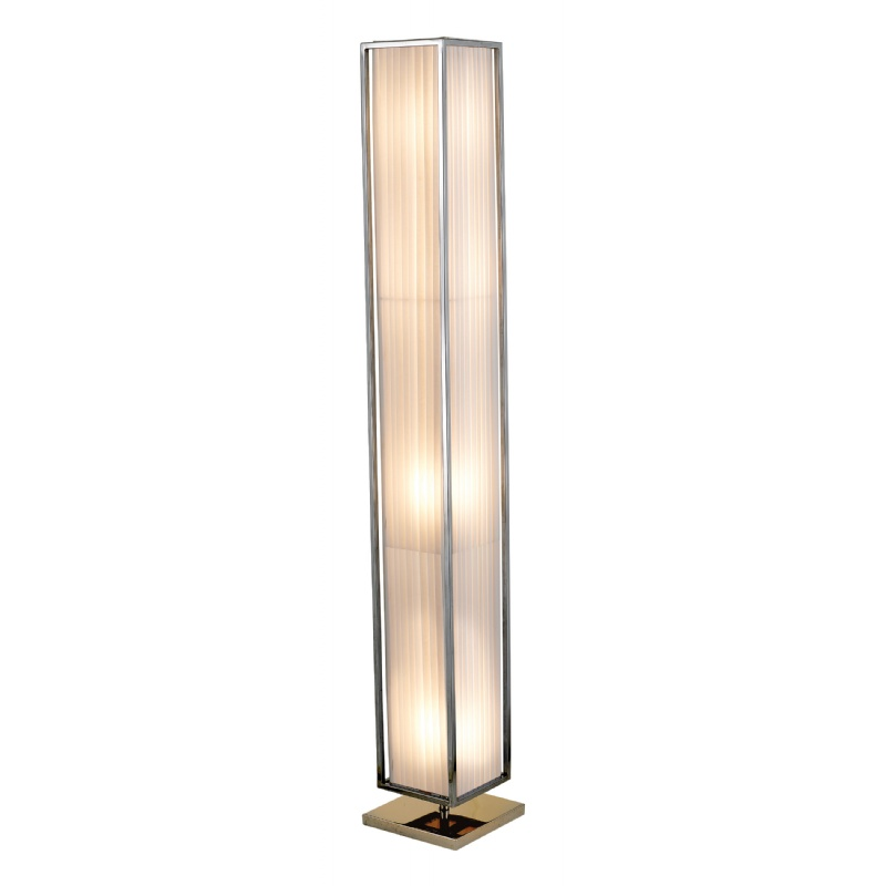 Adesso White / Chrome Luxe Floor Lantern