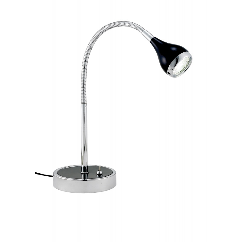 Lighting: Modern Table Lamps: Adesso Black Iris Gooseneck Desk Lamp