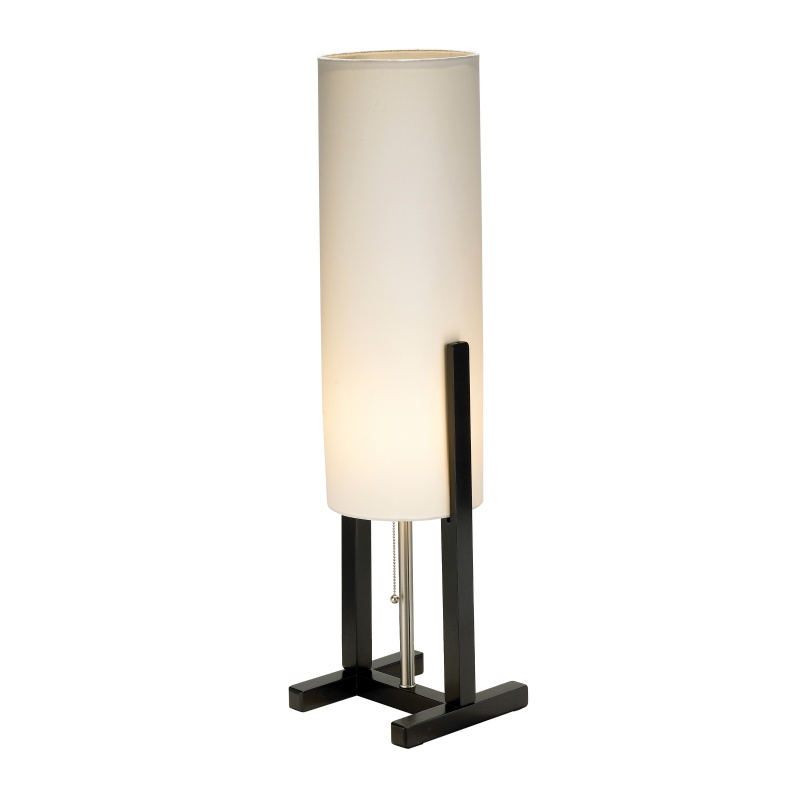 Lighting: Modern Table Lamps: Adesso Black Walnut Bridges Table Lamp