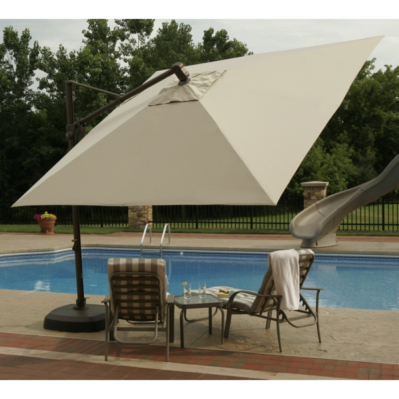 Cantilever Umbrella with Base Acrylic Beige Top 10 Feet Square alternative photo