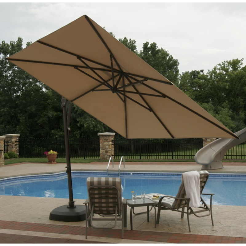Pool Chaise Float with Canopy: Cantilever Umbrella with Base Olefin Stone Top 10 Feet Square