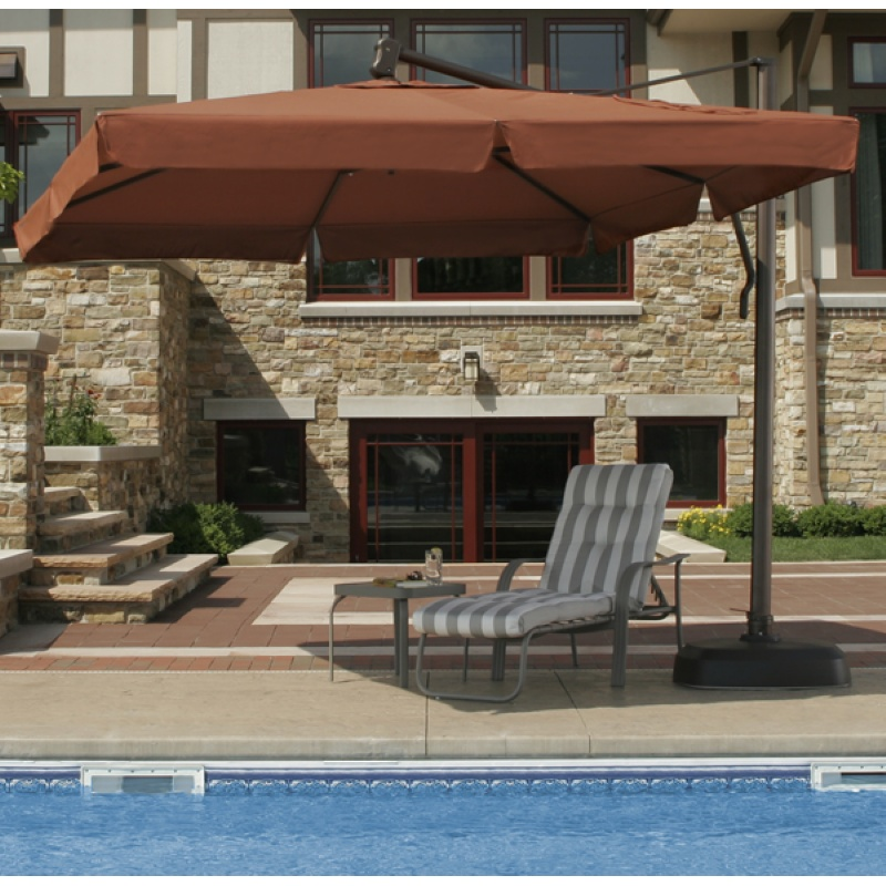 Pool Chaise Float with Canopy: Cantilever Umbrella with Valance Terracotta Top 10 Feet Square