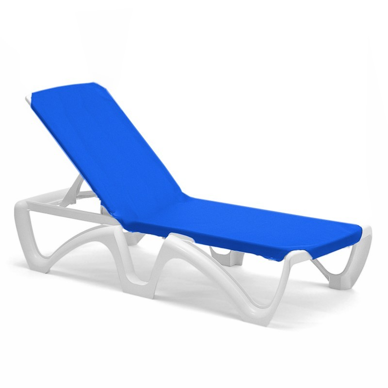 Commercial Adjustable Sling Chaise Lounge - Blue