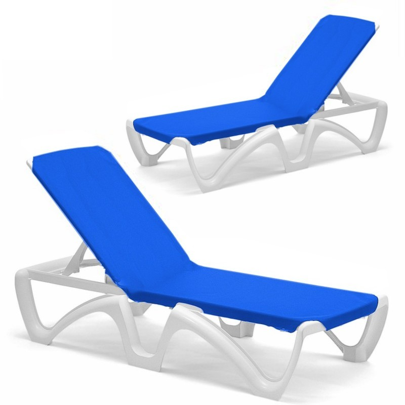 Resin Furniture Set - 4 Blue Sling Chaise Lounges