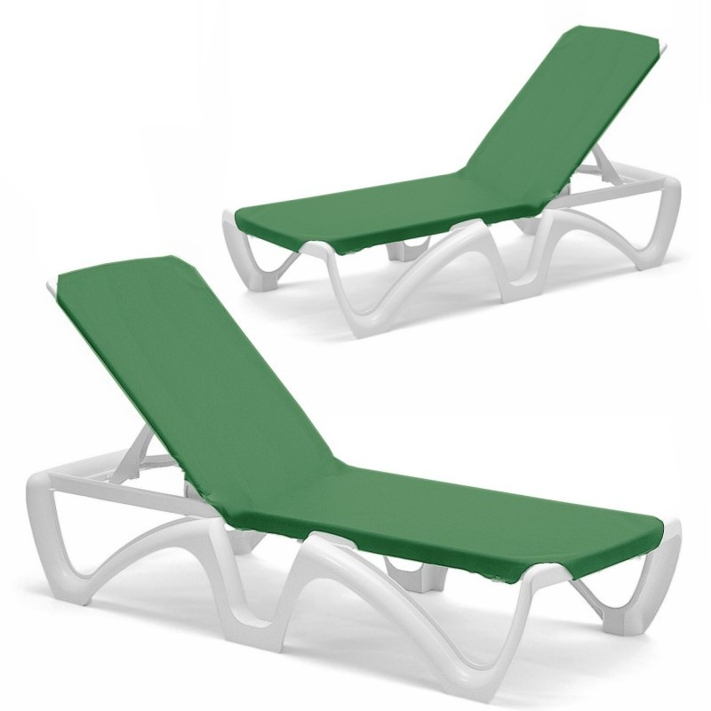 Resin Furniture Set - 4 Green Sling Chaise Lounges