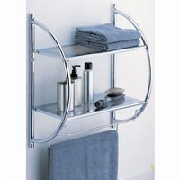 Organize it All Bathroom Wall Mounted 2 Tier Shelf with Towel Bars 1753