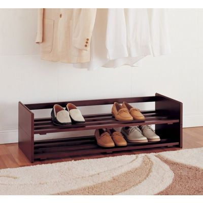 Organize it All 2 Tier Stackable Mahogany Shoe Rack 17081