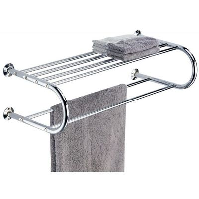 Organize it All Bathroom Wall Mounted Chrome Finished Shelf with Towel Rack 1750