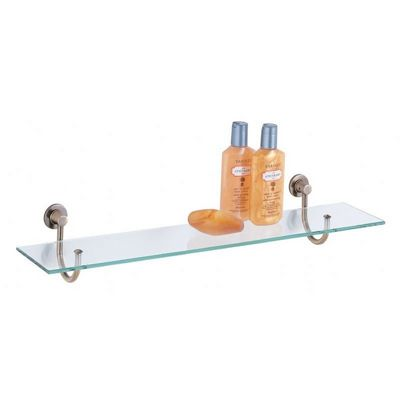 Organize it All Bathroom Wall Mounted Glass Shelf with Antique Brass Mounts 16908