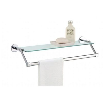Organize it All Bathroom Wall Mounted Glass Shelf with Chrome Towel Bar 16916