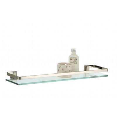 Organize it All Bathroom Wall Mounted Glass Shelf with Nickel Finish and Rail 16911