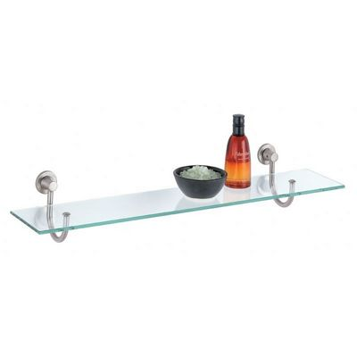 Organize it All Bathroom Wall Mounted Glass Shelf with Satin Nickel Mounts 16907