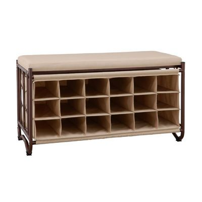 Organize it All Bench with Shoe Cubbies Bronze 10779