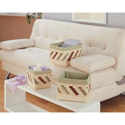 Organize it All Natural Mulberry Rectangular Basket - Set of 3 23685