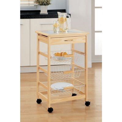 Organize it All Providence Kitchen Cart with Wire Baskets Natural 34123