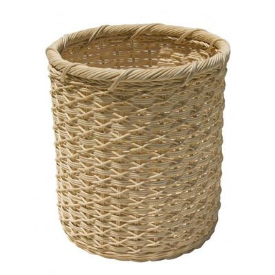 Organize it All Unique Eco-Friendly Round White Wicker Wastebasket 24642