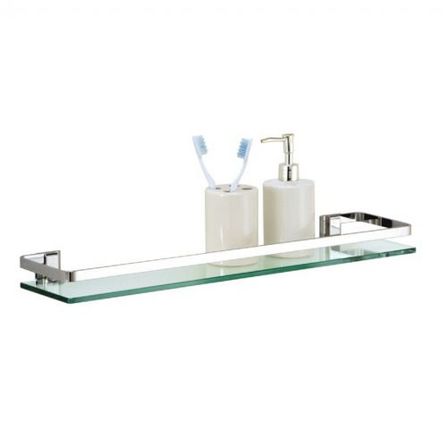 Organize it All Bathroom Wall Mounted Glass Shelf with Chrome Finish and Rail 16901
