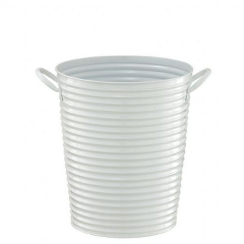 Organize it All Outdoor Metal Bucket Wastebasket White 43304