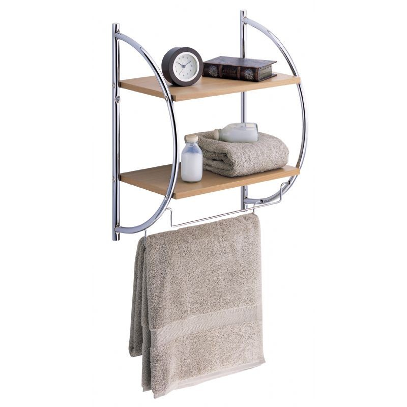Organize It All 2 Tier Wood Mounting Shelf With Towel Bars