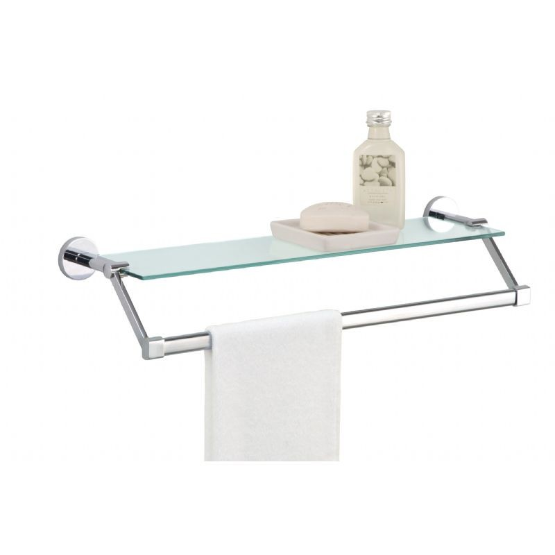 organize it all bathroom wall mounted glass shelf with