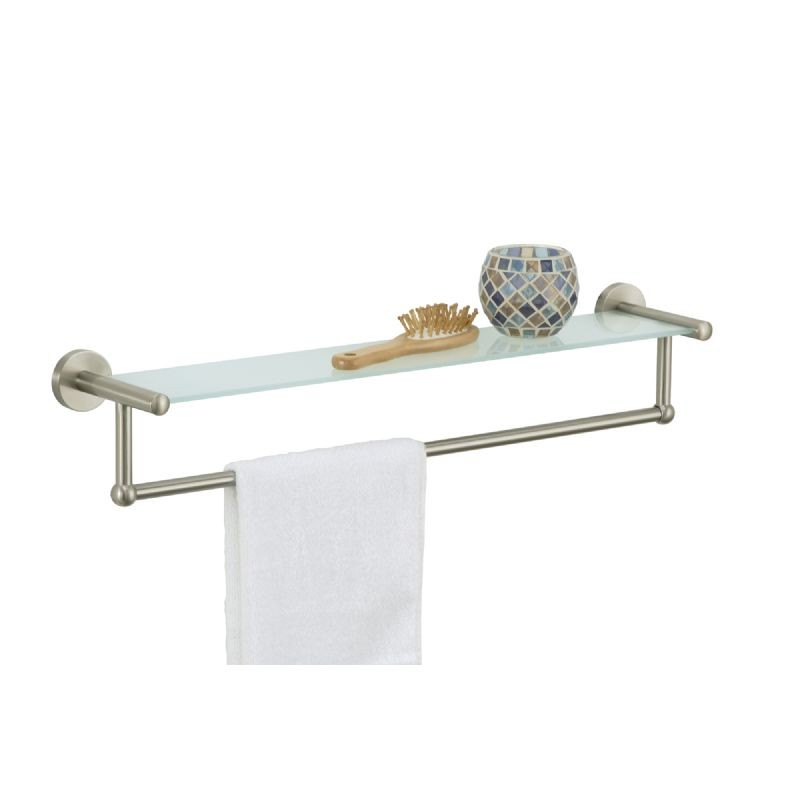 Organize It All Bathroom Wall Mounted Satin Nickel Glass Shelf With Towel Bar