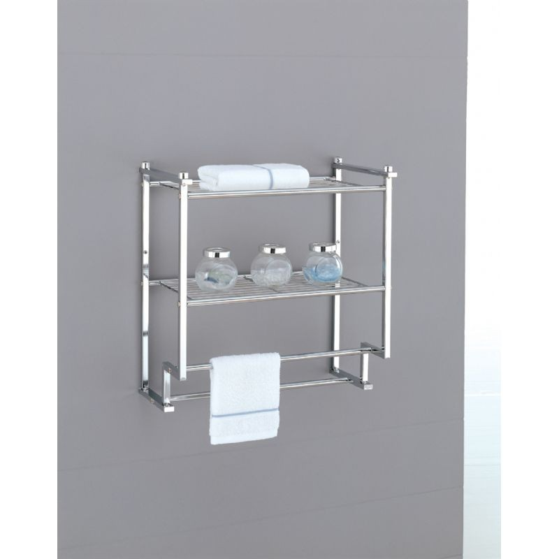 Organize it all metro bathroom 2 tier wall mounted rack with towel