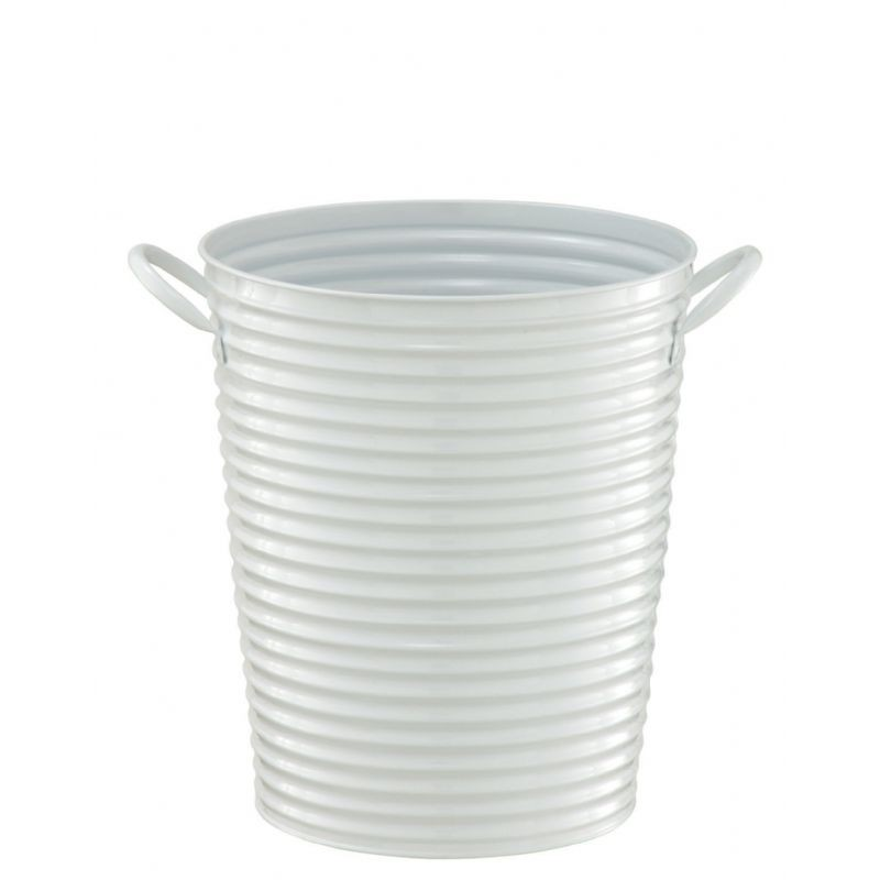 Organize it All Outdoor Metal Bucket Wastebasket White