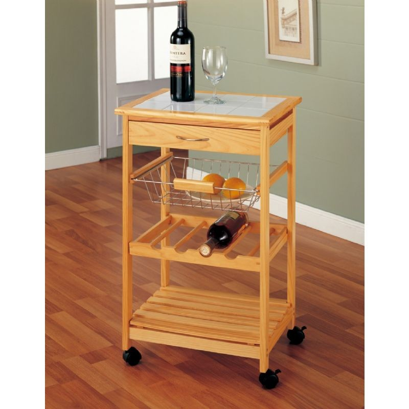 Organize It All Providence Kitchen Cart With Shelf And Wire Basket
