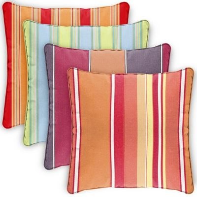 Pillow Cover Square Zippered Welted 22x22 Stripes CPC22P