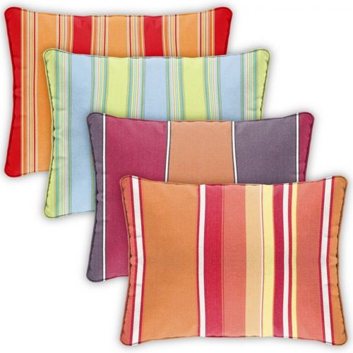 Pillow Cover Rectangle Zippered Welted 22x14 Stripes CPC2214P