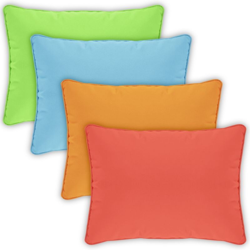 Pillow Cover Rectangle Zippered Welted 22x14 Solids