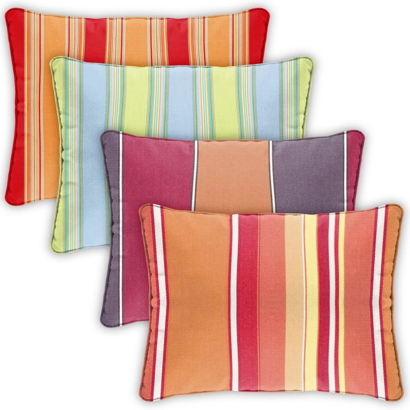 Pillow Cover Rectangle Zippered Welted 22x14 Stripes