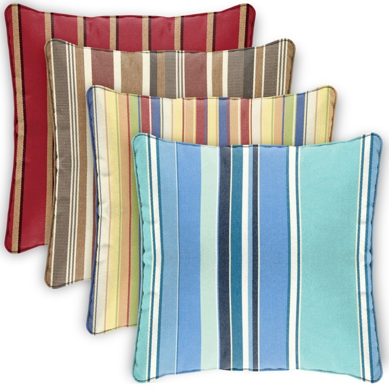 Pillow Cover Square Zippered Welted 15x15 Stripes