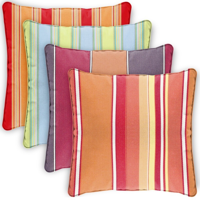 Pillow Cover Square Zippered Welted 22x22 Stripes