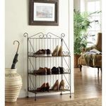 4D Concepts 3 Tier Bookcase - Corn Husk Weave/Metal